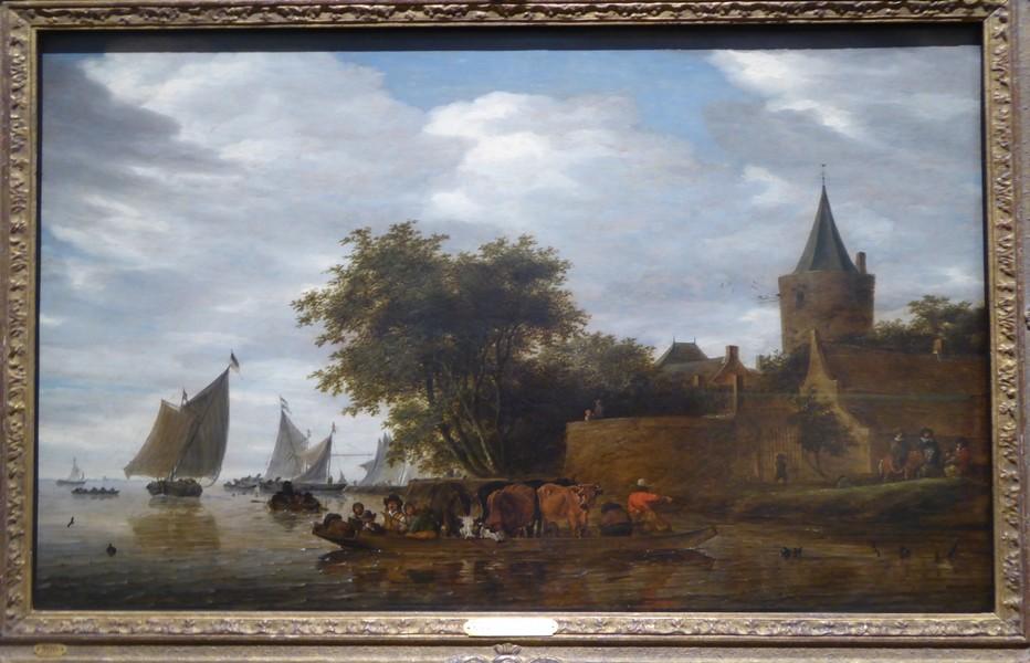 """Ruysdael """"Vue de rivière avec ferry et bastion """". Copyright C. Gary"""