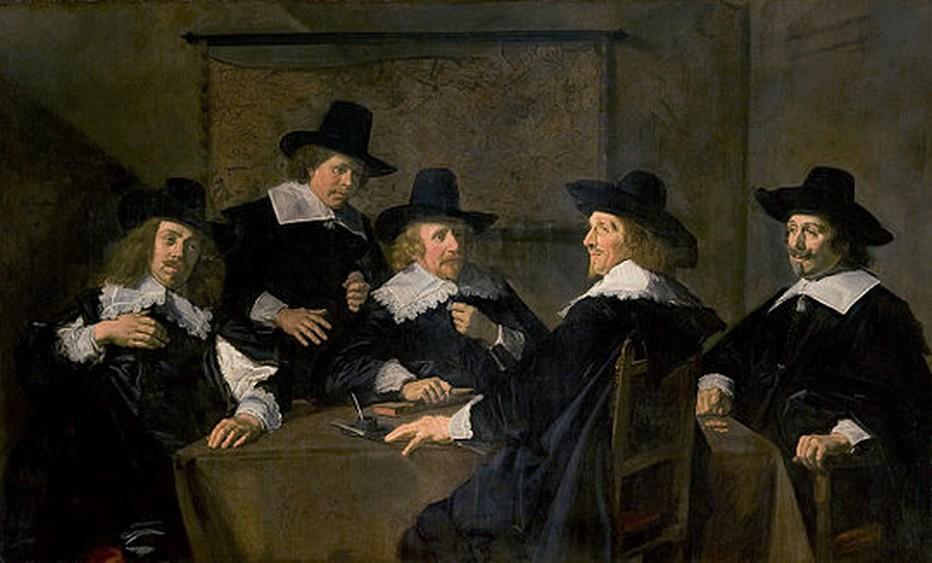 Portrait de groupe des régents de l'hôpital Sainte-Élisabeth de Haarlem, 1641, huile sur toile, 153 x 252 cm (musée Frans Hals, Haarlem). Copyright Wikipédia