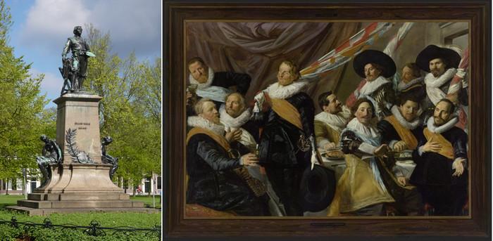 De gauche à droite : Statue de Frans Hals au Florapark à Haarlem;    Frans Hals Banquet des Officiers de la garde civique de St Georges Musée F H Copyright Musée de Hoorn