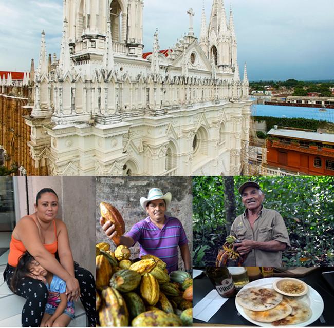 Vue aerienne de la cathédrale de Santa Ana, femme et son enfant à San Salvador, producteur de fèves de cacao dans la baie de Jiquilisco, dompteur de singes. Crédit photo office de tourisme du Salvador et David Raynal.