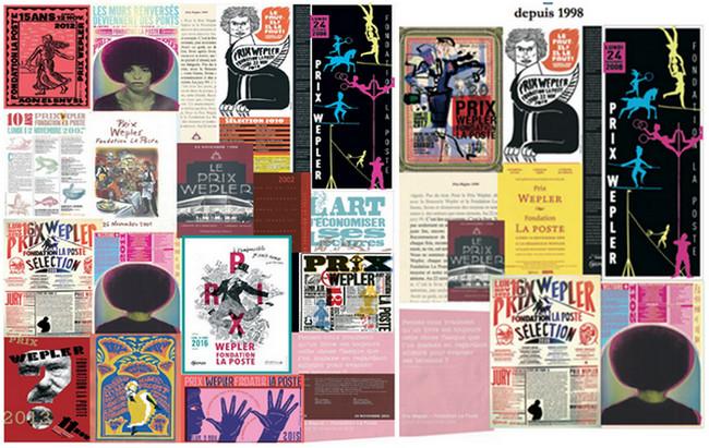 Les affiches du prix Wepler-Fondation La Poste depuis 1998. Crédit photo D.R.