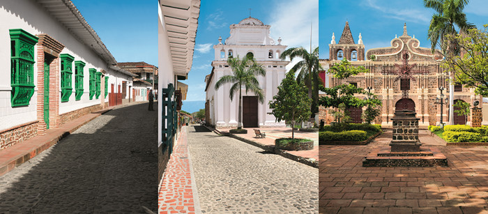 Terre de ferveur, Santa Fe de Antioquia est fière de ses églises classiques ou baroques dont certaines ajoutent à la sérénité des places ombragées de palmiers comme Sainte Barbara. Copyright C.Gary