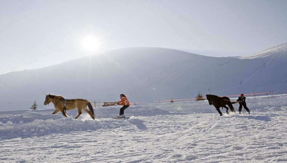 Dans le cadre des vacances à la neige, il est possible de  pratiquer un ski de qualité en s'initiant en toute tranquillité à tous les types de glisse dont comme sur la photo le Ski Joering, puis le ski nordique, snowboard, freerando, freeride, freestyle, ski de randonnée etc.. Copyright DR