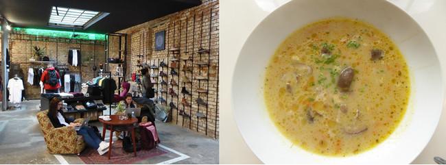De gauche à droite : Boutique à Vnitroblock (Copyright C.Gary); Atelier culinaire avec Chefparade (Copyright C.Gary)