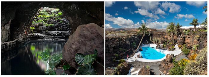 Jameos del Agua,  premier grand chantier de César Manrique est le manifeste éclatant de son génie au cœur de 300 mètres aménagés sur les 7 km de tunnels et de puits d'effondrement montrant le ciel, le tout reliant le volcan La Corona à la mer.(Copyright CM)