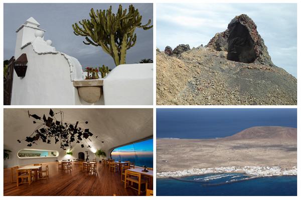 En haut de gauche à droite : Sculptures à la Fondation César Manrique; Sur la route des Volcans; en bas de gauche à droite : La salle de restaurant du Del Diablo; Et vue du haut du Mirador Del rio (Copyright C.Gary)