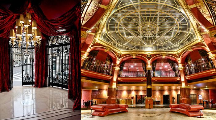 L'entrée sur la rue a conservé les lourdes grilles de l'ancienne banque avant d'entrer dans le Grand hall surmonté de sa coupole (Copyright hotelbanke.com)