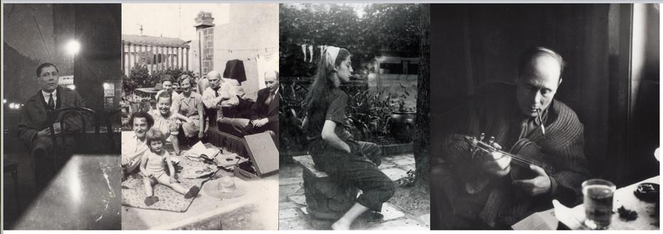 Ses amis, de gauche à droite : Marc Sterling, Zygmund Schreter, Pinchus Krémègne et leurs familles.Photo du milieu, Suzanne Bouldoire l'épouse de l'artiste. D.R.