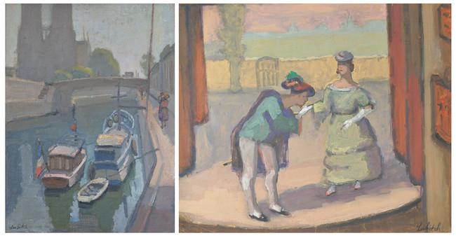 Notre-Dame de Paris, 1926 - Huile sur toile - Signée en bas à gauche - 73 x 54 cm. Couple en scène, Gaîté-Montparnasse, 1932 - Gouache - Signée en bas à droite - 60 x 73 cm. Crédit photo Eric Pineau.
