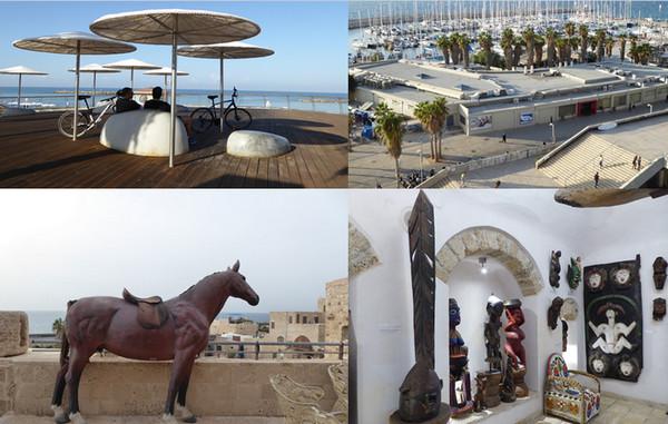 En haut de gauche à droite: Promenade sur la mer ; Vue de l'hôtel Herod; En bas de gauche à droite : Sur la terrasse de la maison-musée d'Ilana Goor ; Collection africaine dans la maison-musée de la sculptrice Ilana Goor. (Copyright C.Gary)