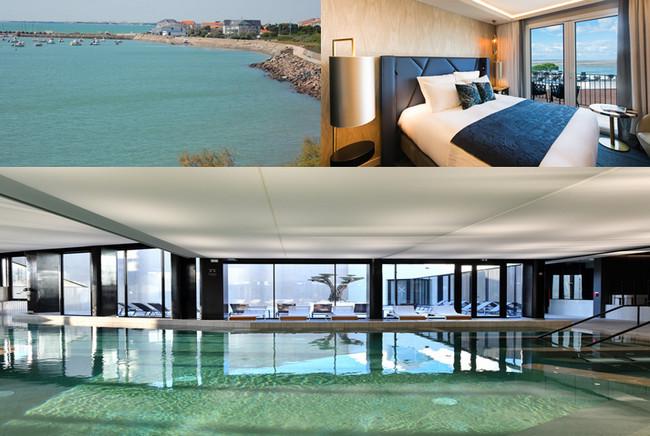 Vue sur la mer de La Grande Terrasse-Spa © DR; Une des chambres avec vue sur la mer © La Grande Terrasse; Le Spa-Marin © Sylvie Curtys-  Spa-Nuxe