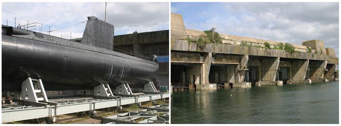 De gauche à droite : Sous Marin Flore à visiter ; Bunkers de la Base de sous marins (vestiges très bien conservés car indestructibles) © Richard Bayon