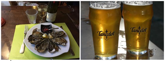 De gauche à droite : A déguster sans modération Huitres du Golfe du Morbihan ; Et boire avec modération Bière Lancelot de Bretagne (Morbihan) au pub « AR ROUE MORVAN » © Richard Bayon