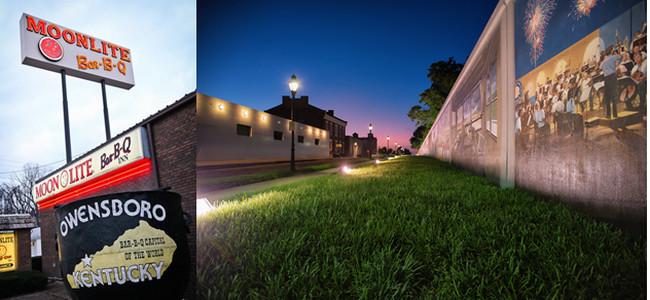 """De gauche à droite : Owensboro   et sa réputation de """"capitale du barbecue"""" avec notamment  le Moonlite Bar-B-Q Inn.© DR"""