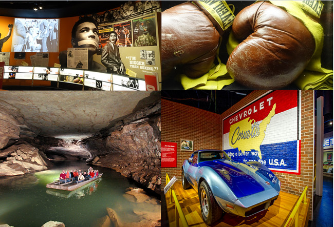 En haut de gauche à droite : Muhamed Ali Center (Louisville) ;© Xavier Bonnet; en bas de gauche à droite :Lost River Cave à Bowling Green, et National Corvette Museum (Bowling Green)  Copyright  DR