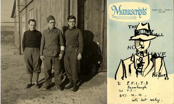 De gauche à droite : 1941 stalag IIC ; Dessin offert en 1943 au soldat Brumbaugh . Copyright Collection personnelle famille Hélion.