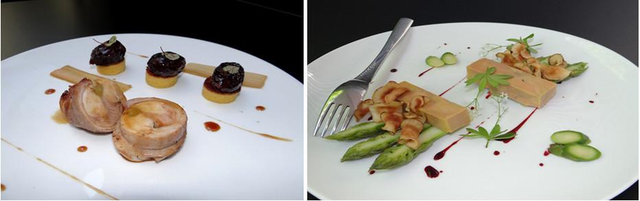 Textures et saveurs ! Tout est présent avec ce râble de lapereau et premières rhubarbes aux pruneaux. ©Bertrand Munier ; Aussi beau que bon, la compression de foie gras de canard et asperges vertes. ©Bertrand Munier