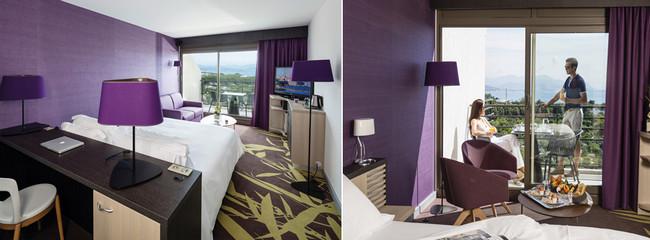 Intégré à l'institut de Thalassothérapie et Spa, l'hôtel Baie des Anges**** propose 116 chambres dont 18 suites spacieuses, baignées de lumière, réparties en trois catégories et 46 logements en résidence.  Copyright Thalazur Antibes