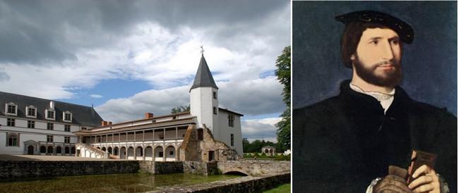 De gauche à droite : La balade de Céladon près du château de la Bâtie d'Urfé et le portrait de son propriétaire Claude d'Urfé. © Wikipédia-Commons.org