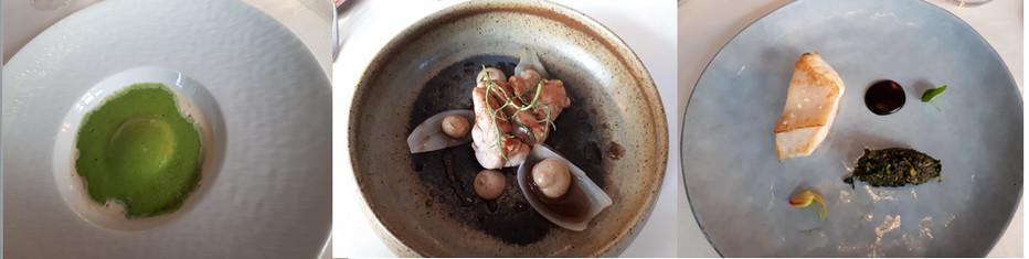 Quelques recettes du Chef  Gabin Bouguet ....dont L'oeuf parfait, Ris de veau et pétales d'oigon, Turbo, ail noir, épinard sumac et citron confis. ©  Domaine Saint-Clair