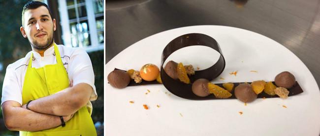 Le pâtissier Clément Billeret avec ses étonnants desserts. ©  Domaine Saint-Clair