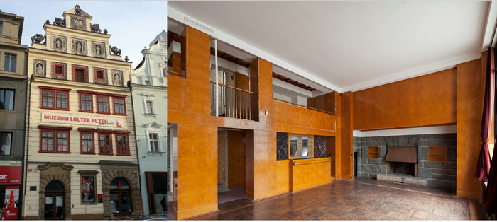 De gauche à droite :  A Pilsen le célèbre musée des Marionnettes ; L'un des appartements minimalistes conçus par Adolf Loos © C.Gary
