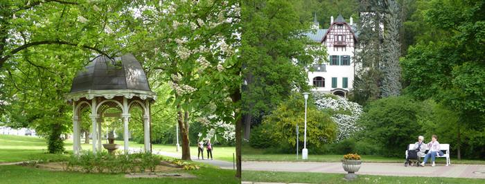 De gauche à droite : Une source jaillit dans un parc de Marienbad et des jardins où il fait bon flâner.© C.Gary