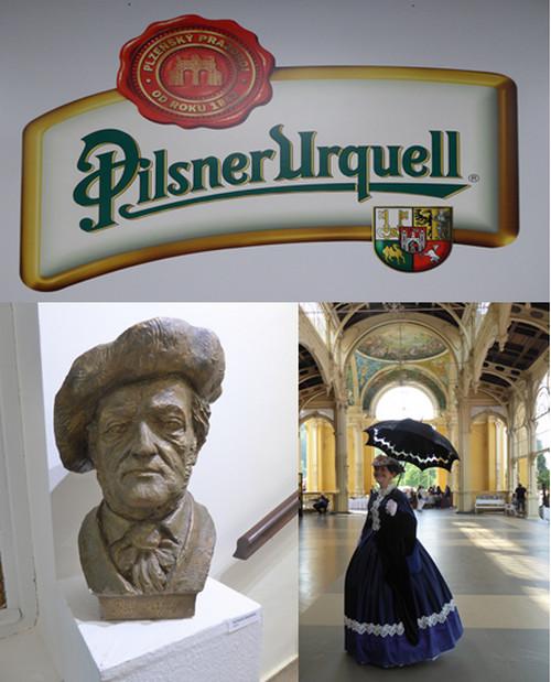 En haut : La bière emblématque nationale et internationale C.G.; En bas de gauche à droite : Marienbad Buste de Gothe dans la maison où il séjourné. C.G. Jolie femme en costume d'époque à Marienbad en promenade dans la colonnade © www.czechtourism.com et C.Gary