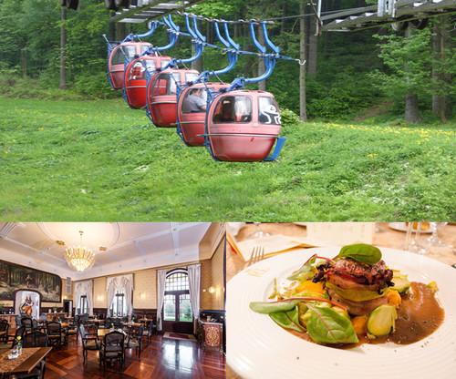 En haut : MarienbadFinuculaire pour une balade dans la forêt ; De gauche à droite : Restaurant le Rubezhal à Marienbad et l'un des ses plats raffinés © www.czechtourism.com et C.Gary