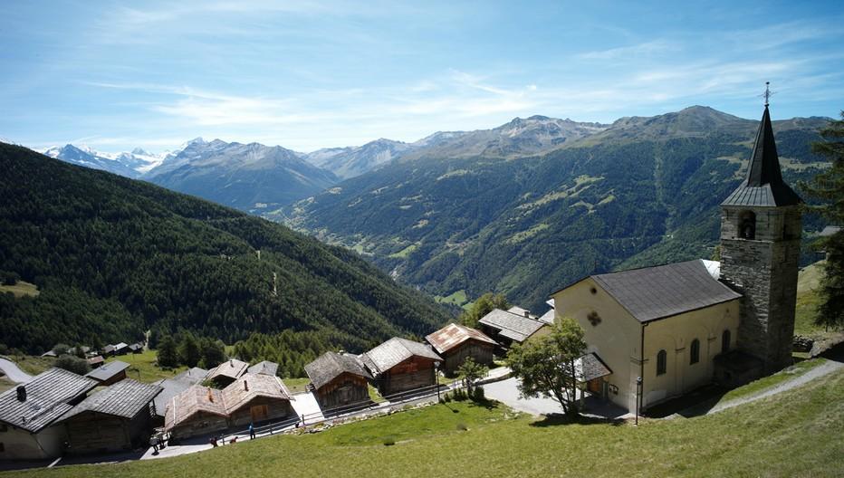 Le village de Chandolin dans le val d'Anniviers, un village haut perché.© OT Valais