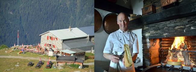 De gauche à droite :  De 1475 à 3507 mètres d'altitude, le Valais propose une vaste diversité d'hébergements pour se reposer au cours des randonnées ©  DR; Didier de Courten à Sierre incarne , avec ses 19 points Gault&Millau et ses deux macarons Michelin, l'excellence de la cuisine suisse  © Grementz
