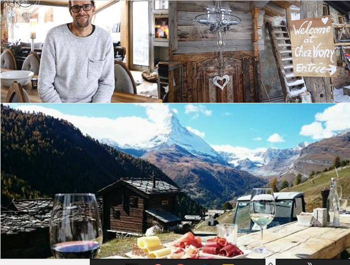 """De gauche à droite :Backstage Hotel Vernissage ,le nouveau joyau du design de Heinz Julen artiste et architecte,  de 19 chambres dans un emplacement de rêve au centre du village de Zermatt. ©Christophe kern; L'entrée de """"Chez Vrony"""" ;  LeSchönegg Restaurant panoramique.qui domine tout le village de Zermatt.  © OTZermatt"""