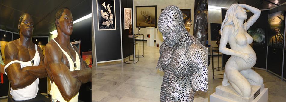214 artistes exposent à Vittel et notamment de gauche à droite : Marcel-Julius Joosen (Pays-Bas),  Bernard Kremer (France-Moselle), Rudy Morandini (France-Haut-Rhin) ! ©Bertrand Munier