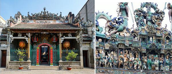 De gauche à droite : Temple de Thien Hau, la déesse de la mer. © DR; Statues en céramique émaillée sur le toit du Temple Thiên Hậu © DR