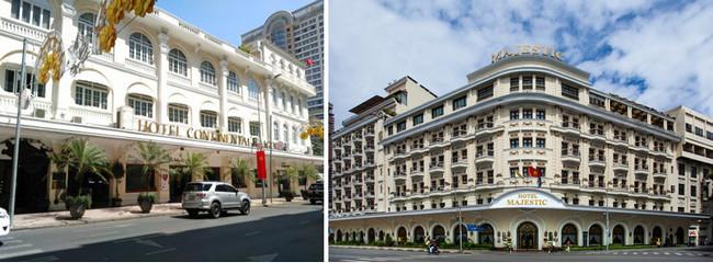 De gauche à droite : Hôtel Continental, rue Catinat (Dong Khoi) © DR; L'hôtel Majestic qui fut longtemps le PC des correspondants de guerre © DR