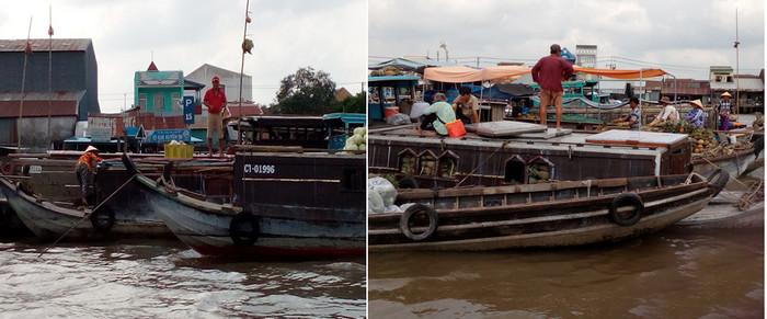 De gauche à droite :le marché Cai Rang est spécialisé dans le commerce de fruits, ici des pastèques.… Ici des ananas.  © FS