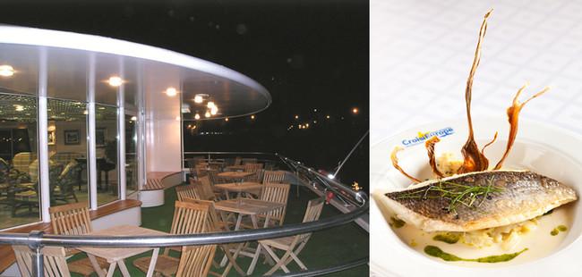 Le soir à la fraîche on profite de la terrasse ©  C.G. ; La gastronomie à bord ©  C.G.