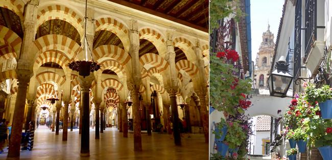 De gauche à droite : Cordoue la mosquée-cathédrale ; Cordoue la Judéria .© C.Gary