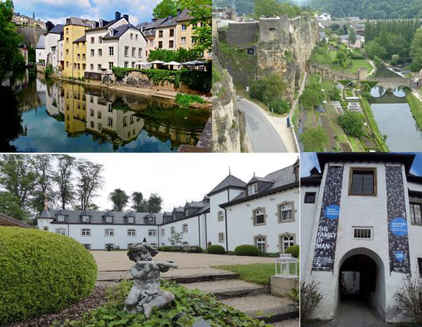 En haut de gauche à droite : Vieille ville © Roman Schonfeld ; Vue sur les Casemates dans la falaise. C.Gary.; En bas de gauche à droite : Château d'Urspelt hôtel C.G.; Entrée Family of man Château de Clervaux . @ DR