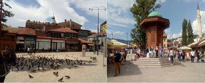 De gauche à droite : La Place Sebilj au cœur du Bascarsija © FS; La célèbre Fontaine Sebilj, construite en 1891, emblème de Sarajevo © FS