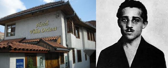 De gauche à droite : Emplacement de la maison de Gavrilo Princip. La demeure a été rasée après l'attentat. C'est aujourd'hui l'Hôtel Villa Orient © DR; : Gavrilo Princip, l'auteur de l'attentat qui coûta la vie à l'Archiduc et à  son épouse © Wikipédia