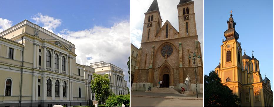 De gauche à droite : Musée National de Bosnie Herzegovine © Wikipédia; : La Cathédrale catholique du Cœur-de-Jésus © DR ; La Cathédrale orthodoxe de la Nativité-de-la-Mère-de-Dieu © FS
