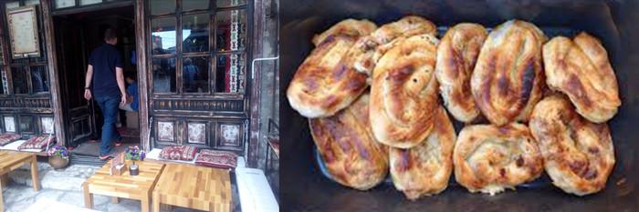 : Un café dans le Vieux Quartier Bascarsija © FS et  les fameux : Bureks. Miam, miam… © FS