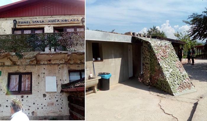 de gauche à droite : : Maison du Tunnel. Le fameux Tunnel de Sarajevo avait son entrée dans la cour de cette maison, criblée de balles lors des affrontements © FS; Entrée du Tunnel de Sarajevo © FS