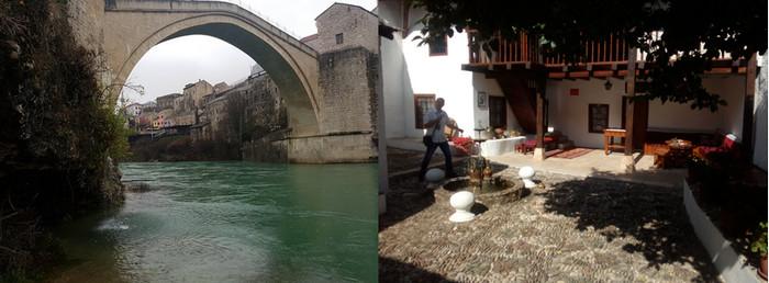 De gauche à droite : le Stari Most, qui a donné son nom à la ville. C'est de là que les célèbres « Mostari » se jettent dans la rivière ; Cour pavée de la Maison Turque © FS