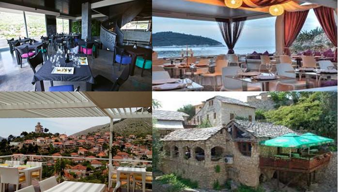 1/Restaurant Podrumi Vukoje 1982 Trebinje @ DR, 2/ Restaurant Banje Beach Dubrovnik @ DR, 3/ Trebinje, l' une des plus anciennes villes de Bosnie-Herzégovine @ FS, 4/ Restaurant Konoba Taurus Mostar @DR