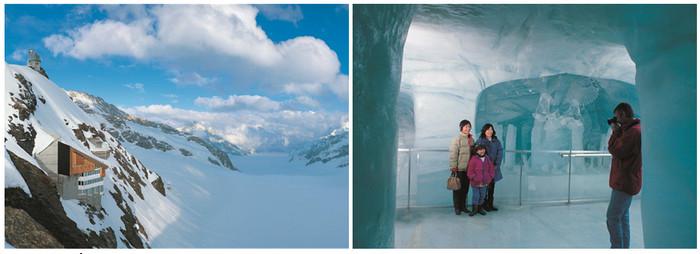 De gauche à droite : Le glacier d'Aletsch et la station d'observation ; le palais des glaces sous le glacier d'Aletsch au Jungfraujoch . @DR