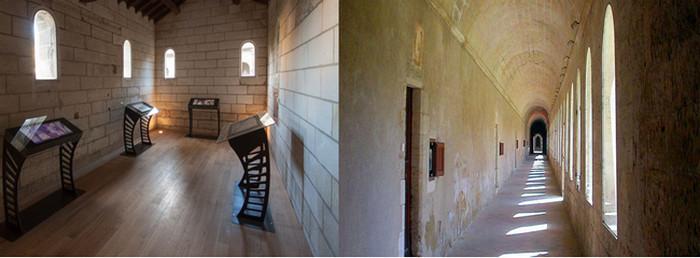 De gauche à droite : Exposition de photos; Couloir menant aux chambres monacales © O.T. Villeneuve les Avignon