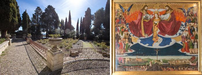 De gauche à droite : Jardins de l'abbaye Saint-André -La Chartreuse et Le couronnement de la Vierge de Enguerrand Quarton au musée Pierre de Luxembourg -La Chartreuse © A.Nollet