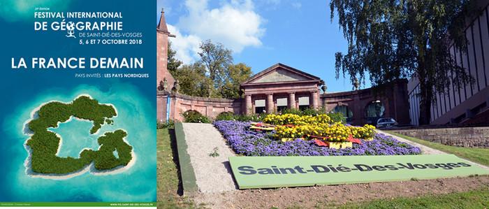L'affiche de la 29ème édition du FIG qui se déroule du 5 au 7 octobre 2018 et un parc fleuri près de la cathédrale de Saint-Dié-des-Vosges. @ DR et David Raynal